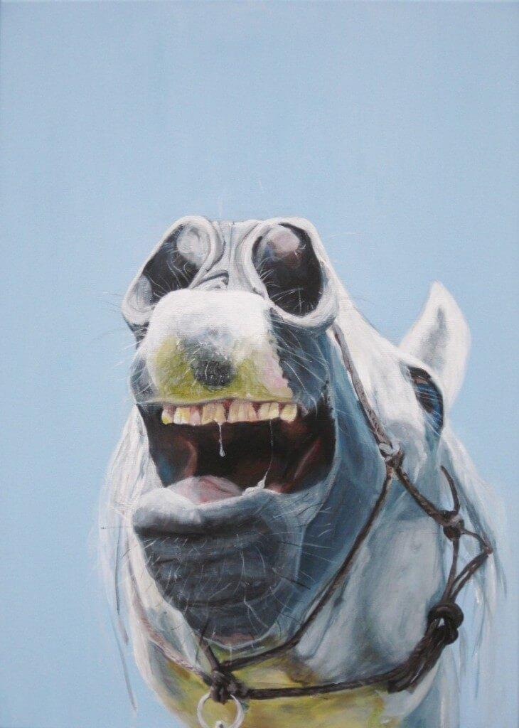 Laughing horse - Paardenschilderij - Ellie Schrotenboer