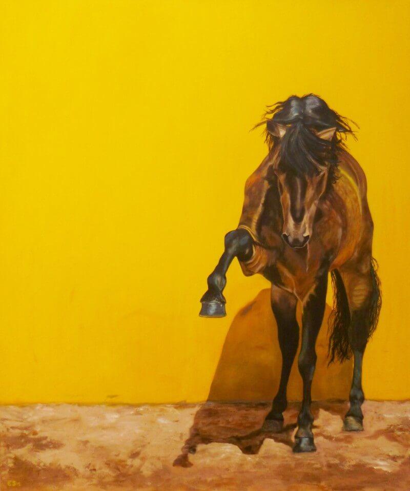 Lusitano hengst in geel - Paardenschilderij - Ellie Schrotenboer